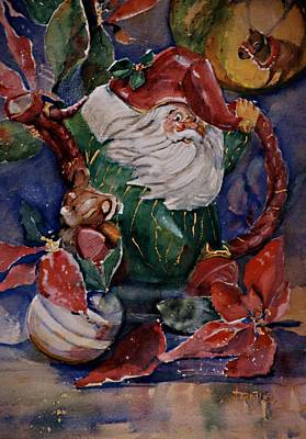 Teapot Painting - Christmas Teapot It's Fitz And Floyd by Jimmie Trotter