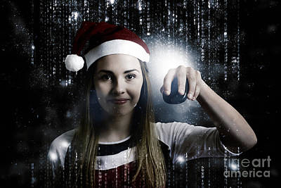 Christmas Technology Woman Shopping Online Print by Jorgo Photography - Wall Art Gallery