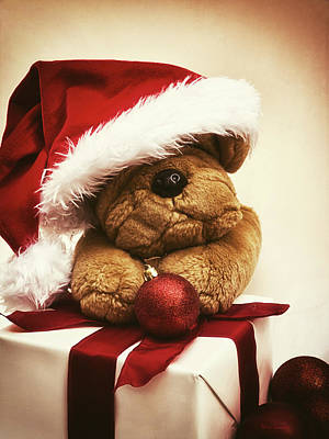 Christmas Teddy Bear Art Print by Wim Lanclus