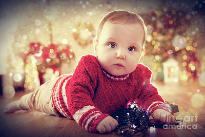 Photograph - Christmas Time. Cute Baby Crawl On The Floor Playing With Lights by Michal Bednarek