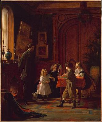 Christmas Time Painting - Christmas-time, The Blodgett Family by Celestial Images