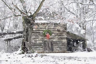 Photograph - Christmas Tobacco Barn by Benanne Stiens