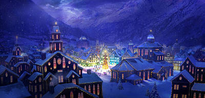 Town Mixed Media - Christmas Town by Philip Straub