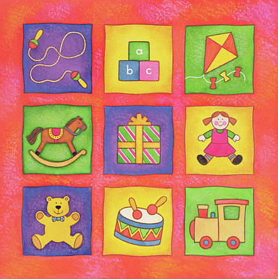 Kite Painting - Christmas Toys by Cathy Baxter