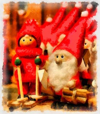 Gnomes Painting - Christmas Toys by Esoterica Art Agency