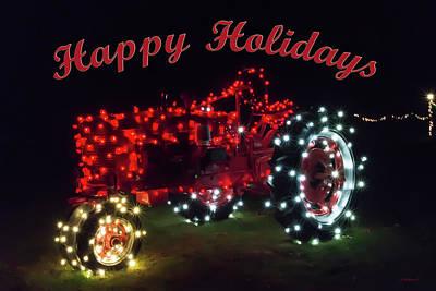 Christmas Tractor - Happy Holidays Art Print