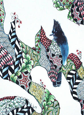 Stellar Jay Drawing - Christmas Treats For Mr. Jay by Wendy Mould