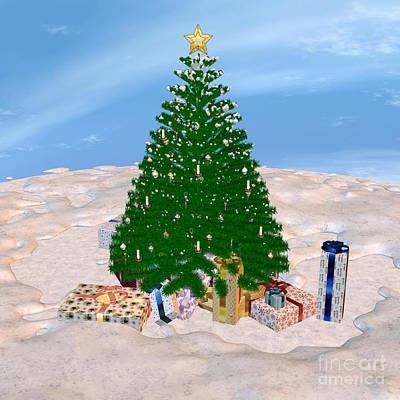 Digital Art - Christmas Tree And Presents by Design Windmill