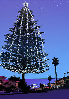 Pine Trees Drawing - Christmas Tree At Moonlight Beach Encinitas, California by Mary Helmreich