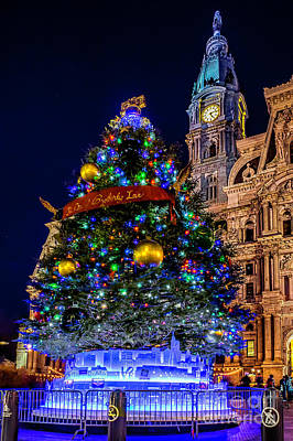 Photograph - Christmas Tree At Philly City Hall by Nick Zelinsky