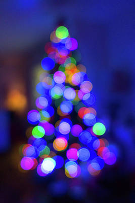 Photograph - Christmas Tree Bokeh by Steven Green