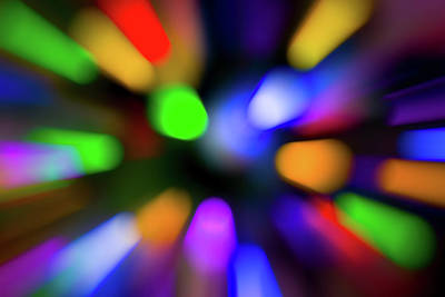 Photograph - Christmas Tree Bokeh Zoom by Steven Green