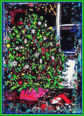 Nativity Mixed Media - Christmas Tree Card 1 by Sarah Loft