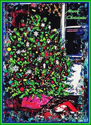 Nativity Mixed Media - Christmas Tree Card 2 by Sarah Loft