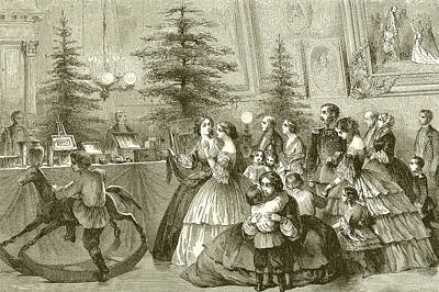 Interior Scene Drawing - Christmas Tree by English School