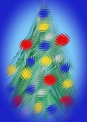 Abstract Art Painting - Christmas Tree  by Gina Nicolae Johnson