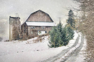 Barn Digital Art - Christmas Tree Hill by Lori Deiter