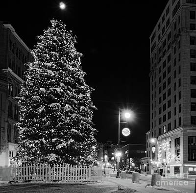 Photograph - Christmas Tree In Monument Square, Portland, Maine  -94562-bw by John Bald