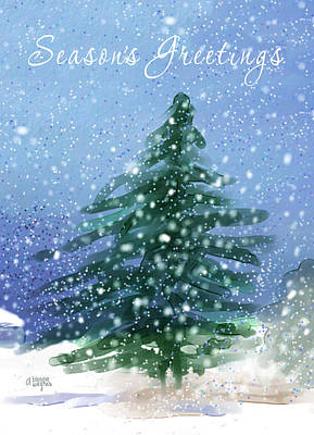 Christmas Cards Digital Art - Christmas Tree In The Snow by Arline Wagner