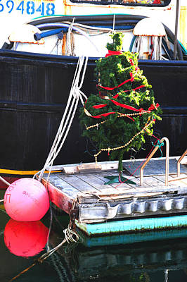 Photograph - Christmas Tree On Fishing Dock by Mike Martin
