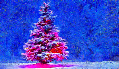 Claus Painting - Christmas Tree - Pa by Leonardo Digenio
