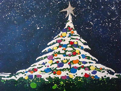 Christmas Tree Art Print by Paula Weber