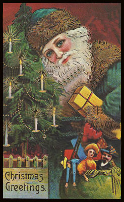 Painting - Christmas Tree Santa by Unknown