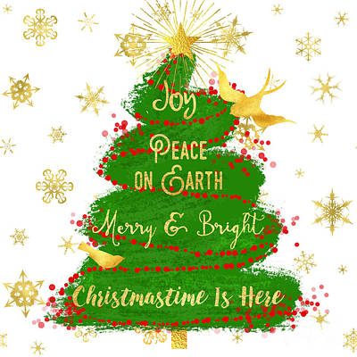 Christmas Tree Sentiment Art, Peace On Earth, Joy, Gold Star Art Print by Tina Lavoie