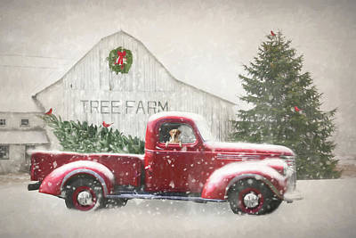 Old Chevy Truck Wall Art - Photograph - Christmas Tree Shopping 3 by Lori Deiter
