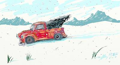 Digital Art - Christmas Tree Truck by Stacy C Bottoms