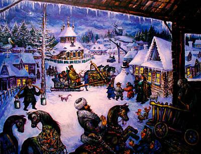 Roussimoff Wall Art - Painting - Christmas Troika Through Russia by Ari Roussimoff