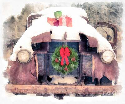 Red Ribbon Digital Art - Christmas Truck by Edward Fielding