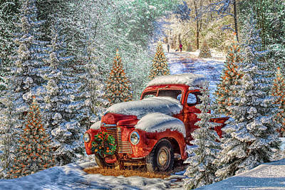 Photograph - Christmas Truck In The Snow In Hdr Detail by Debra and Dave Vanderlaan
