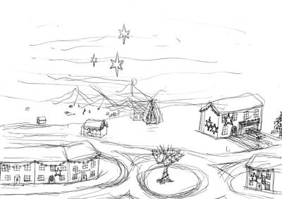 Matthew Joseph Williams Drawing - Christmas Village by Artists With Autism Inc