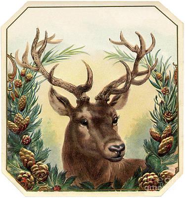 Painting - Christmas Vintage With Deer by R Muirhead Art