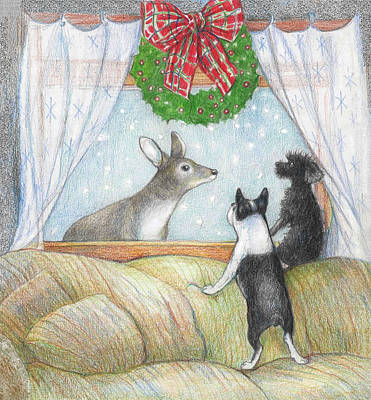 Christmas Visitor Original by Peggy Wilson