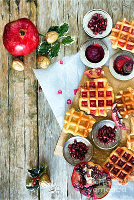 Berries Photograph - Christmas Waffle by Ezeepics
