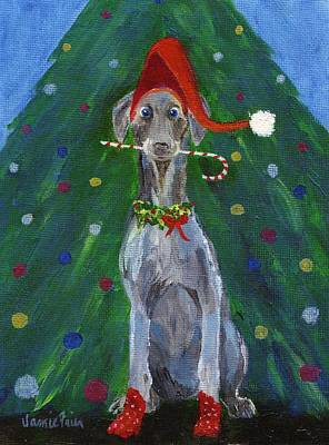 Painting - Christmas Weimaraner by Jamie Frier