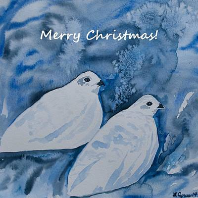 Painting - Christmas White-tailed Ptarmigan by Cascade Colors