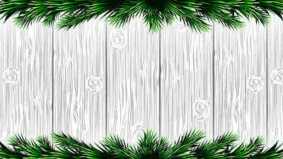 Old Plank Tables Mixed Media - Christmas White Wooden Background With Green Fir Branches. Vector Illustration by Anastasia Bogoiavlenskaia