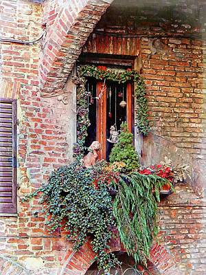 Photograph - Christmas Window Decoration Citta Della Pieve by Dorothy Berry-Lound