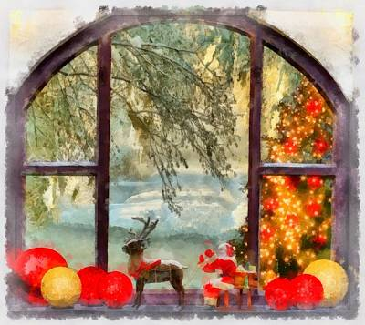 Santa Claus Painting - Christmas Window by Esoterica Art Agency