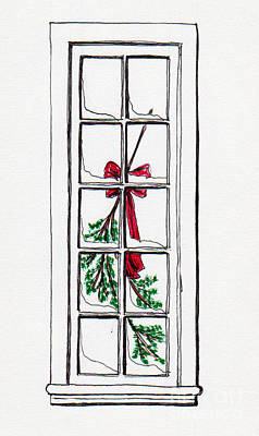 Drawing - Christmas Window by Jackie Mueller-Jones