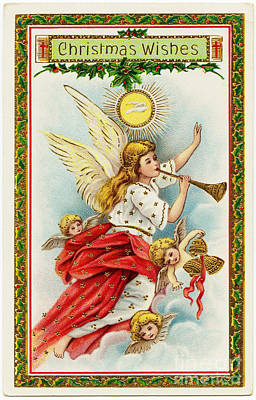 Painting - Christmas Wishes Angels Blowing Horns Vintage Victorian by R Muirhead Art