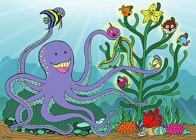 Mixed Media - Christmas With The Octopus by Shawna Rowe