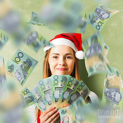 Christmas Woman With Australian Dollar Money Fan Art Print