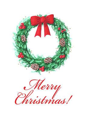 Painting - Christmas Wreath Card by Masha Batkova