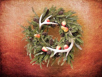 Photograph - Christmas Wreath Deer Antlers by Leslie Montgomery
