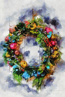 Mixed Media - Christmas Wreath by Ian Mitchell