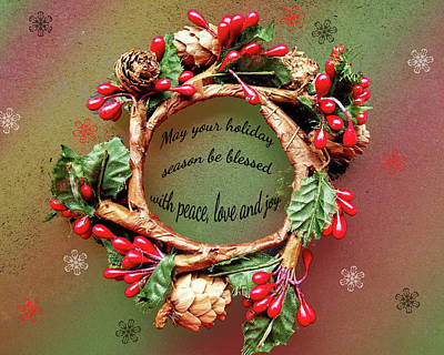 Photograph - Christmas Wreath by Judi Saunders